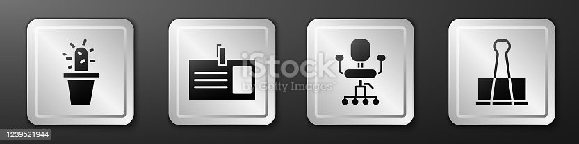 Set Cactus and succulent in pot, Identification badge, Office chair and Binder clip icon. Silver square button. Vector