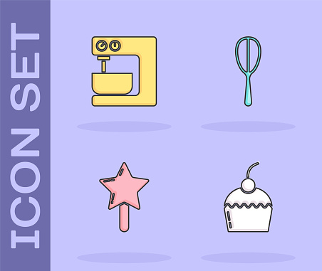 Set Cake, Electric mixer, Lollipop and Kitchen whisk icon. Vector