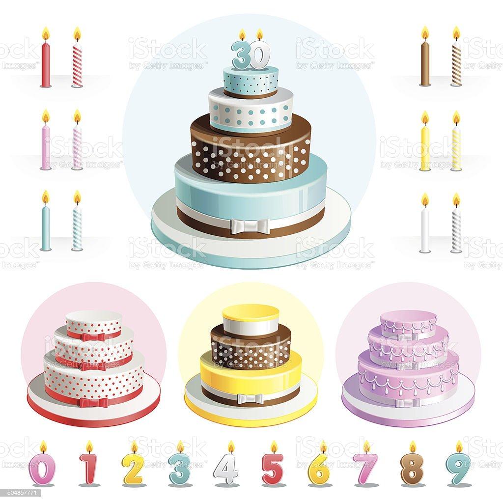 Ensemble de gâteaux pour anniversaire de mariage - Illustration vectorielle