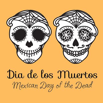 Set Calavera sign Dia de los muertos. Mexican Day of the dead. Vector hand drawing illustration man sticker