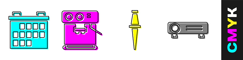 Set Calendar, Coffee machine, Push pin and Movie, film, media projector icon. Vector
