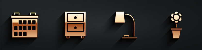 Set Calendar, Drawer with documents, Table lamp and Flower in pot icon with long shadow. Vector
