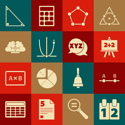 Set Calendar, Graph, schedule, chart, diagram, Chalkboard, Geometric figure Pentagonal prism, Human brain, Triangle math and XYZ Coordinate system icon. Vector