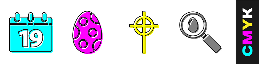 Set Calendar with Happy Easter, Easter egg, Christian cross and Search and easter egg icon. Vector