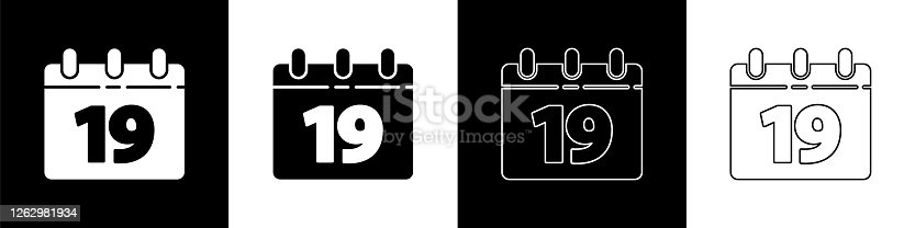 istock Set Calendar with Happy Easter icon isolated on black and white background. Spring Christian Holiday symbol. Vector Illustration 1262981934
