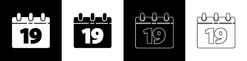 Set Calendar with Happy Easter icon isolated on black and white background. Spring Christian Holiday symbol. Vector Illustration