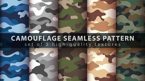 Set camouflage military seamless pattern