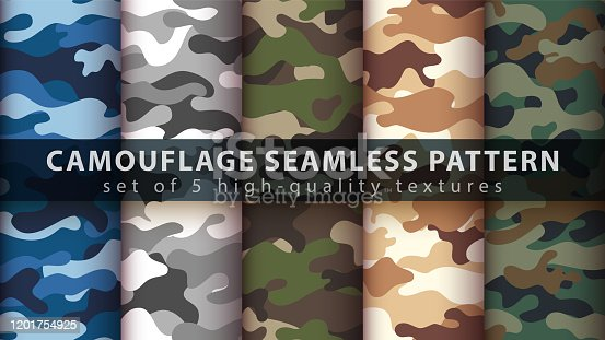 istock Set camouflage military seamless pattern 1201754925