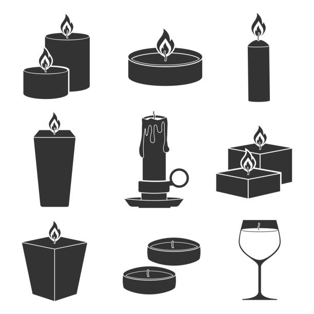 set candles icons isolated on white background aromatherapy burning candles with aromatic plant and essential