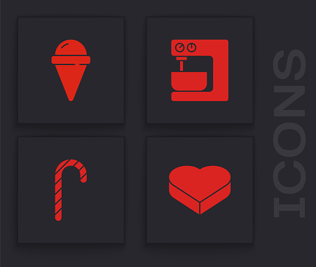 Set Candy in heart shaped box, Ice cream waffle cone, Electric mixer and Christmas candy cane icon. Vector