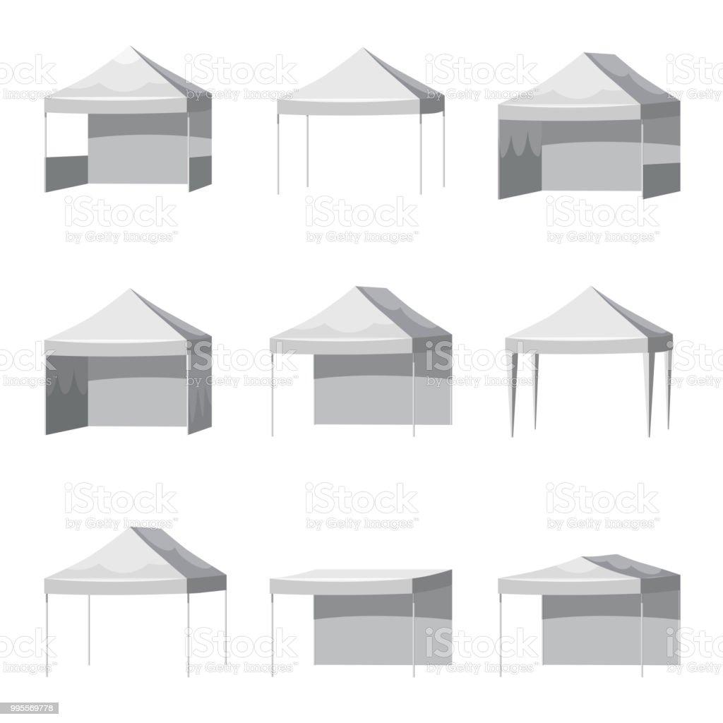 Set Canopy Shed Overhang Awning Mockup Set Cartoon Style