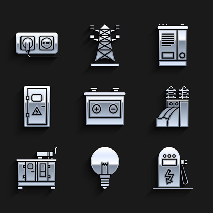 Set Car battery, Light bulb, Electric car charging station, Nuclear power plant, Diesel generator, Electrical cabinet, and outlet icon. Vector