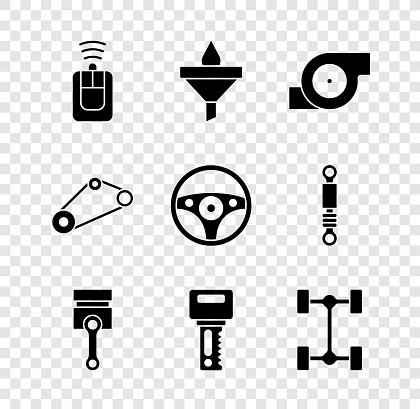 Set Car key with remote, Funnel and oil drop, Automotive turbocharger, Engine piston, Chassis car, Timing belt kit and Steering wheel icon. Vector