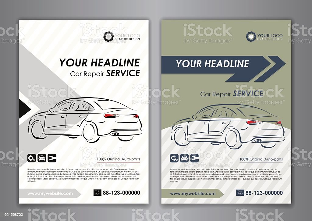 A5 A4 Set Car Repair Service Business Card Templates Stock Vector ...