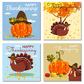Set Card Vector Illustration of a Happy Thanksgiving Celebration Design with Cartoon Turkey and Autumn Leaves