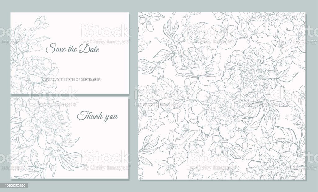 Set card with peony flowers. - arte vettoriale royalty-free di Affari finanza e industria