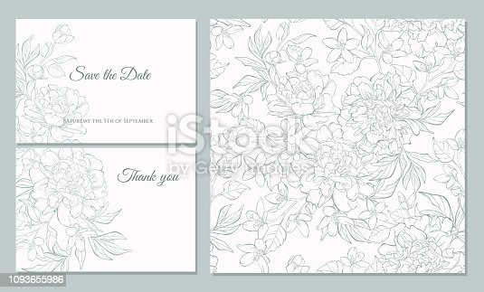 Wedding invitation card template design, bouquets of  peony  and tulip, vintage style. Card for Valentine's day, Mother's day. Seamless pattern included.