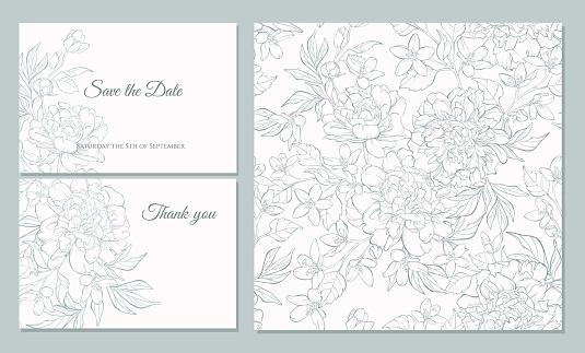 Set Card With Peony Flowers - Immagini vettoriali stock e altre immagini di Affari finanza e industria