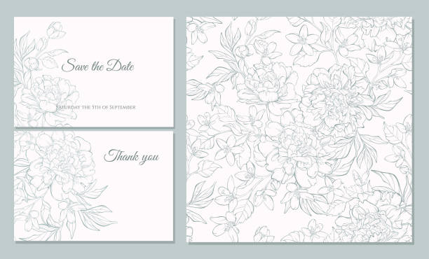set card with peony flowers. - marriage stock illustrations