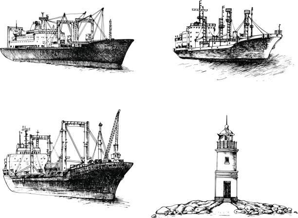 frachtschiff, reefer, leuchtturm einstellen - ostsee stock-grafiken, -clipart, -cartoons und -symbole
