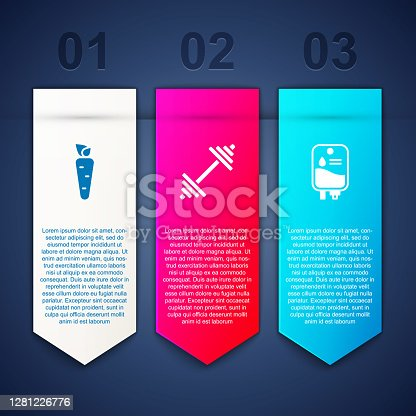 istock Set Carrot, Dumbbell and IV bag. Business infographic template. Vector 1281226776