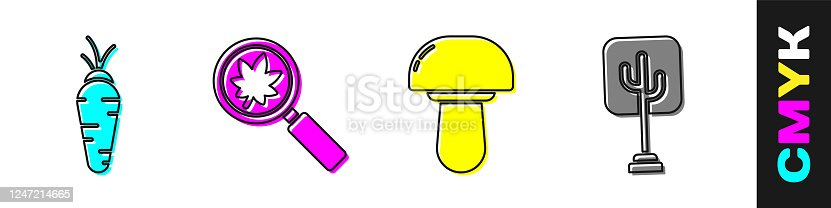 Set Carrot, Magnifying glass with leaf, Mushroom and Tree icon. Vector