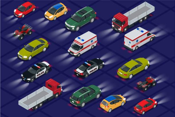 illustrations, cliparts, dessins animés et icônes de voitures avec voiture allume la valeur réaliste vue isométrique. phares de voiture automobile dans l'obscurité. transports publics urbains pour le transport de passagers. - voiture nuit