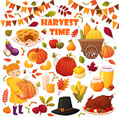 Set cartoon autumn elements for happy thanskgiving party: pumpkin pie, baked turkey, honey jars, candles, trolley with pumpkins, hat, little girl, beet, berries and leaves . Season vector elements for design of your postcards, booklets, banners, illustrations, etc.