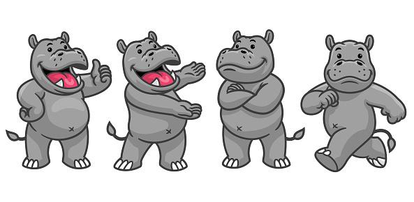 set cartoon character of funny hippo