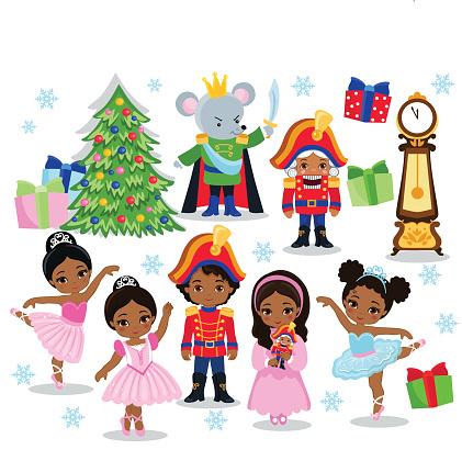 Set cartoon christmas characters for fairy tale Nutcracker