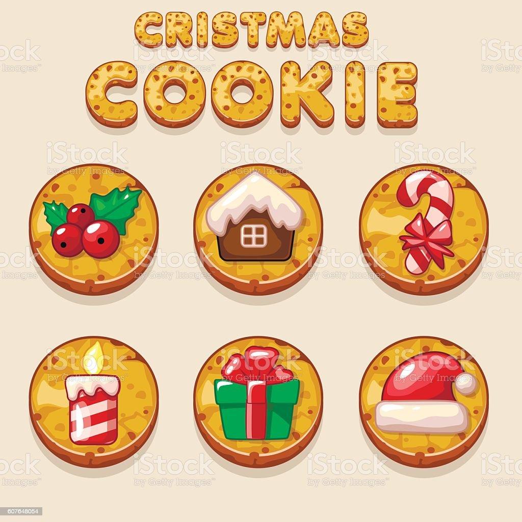 Set Cartoon Christmas cookies, biskvit food icons vector art illustration