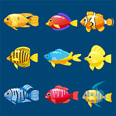 set cartoon funny fish vector characters colorful coral reef