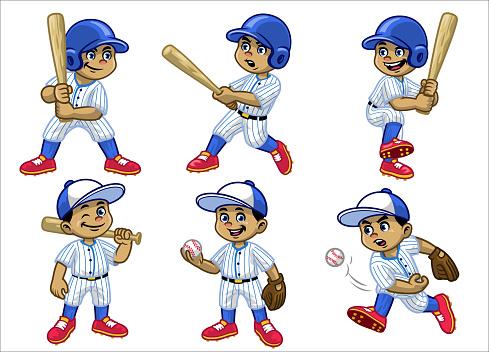 set cartoon of white boy baseball player