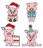 set cartoon pigs celebrating christmas and chinese new year