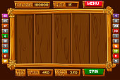 Vector set Cartoon wood assets, Interface and buttons For Ui Game SLOTS