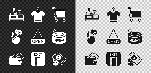 Set Cashier at cash register, T-shirt, Shopping cart, Wallet with money, Fire exit, POS terminal, Supermarket food products price label and Hanging sign Open icon. Vector