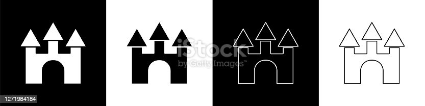 Set Castle icon isolated on black and white background. Vector.