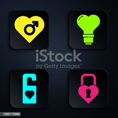 istock Set Castle in the shape of a heart, Heart with male gender, Please do not disturb with heart and Heart shape in a light bulb. Black square button. Vector 1265275980