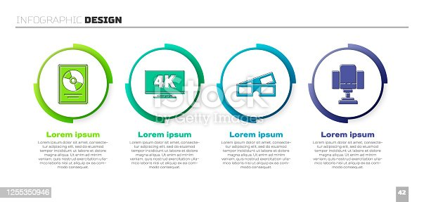 istock Set CD disk award in frame, Screen tv with 4k, 3D cinema glasses and Director movie chair. Business infographic template. Vector 1255350946