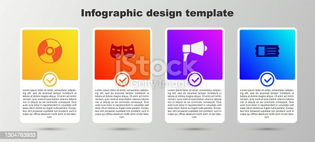 istock Set CD or DVD disk, Comedy and tragedy masks, Megaphone and Cinema ticket. Business infographic template. Vector 1304763933