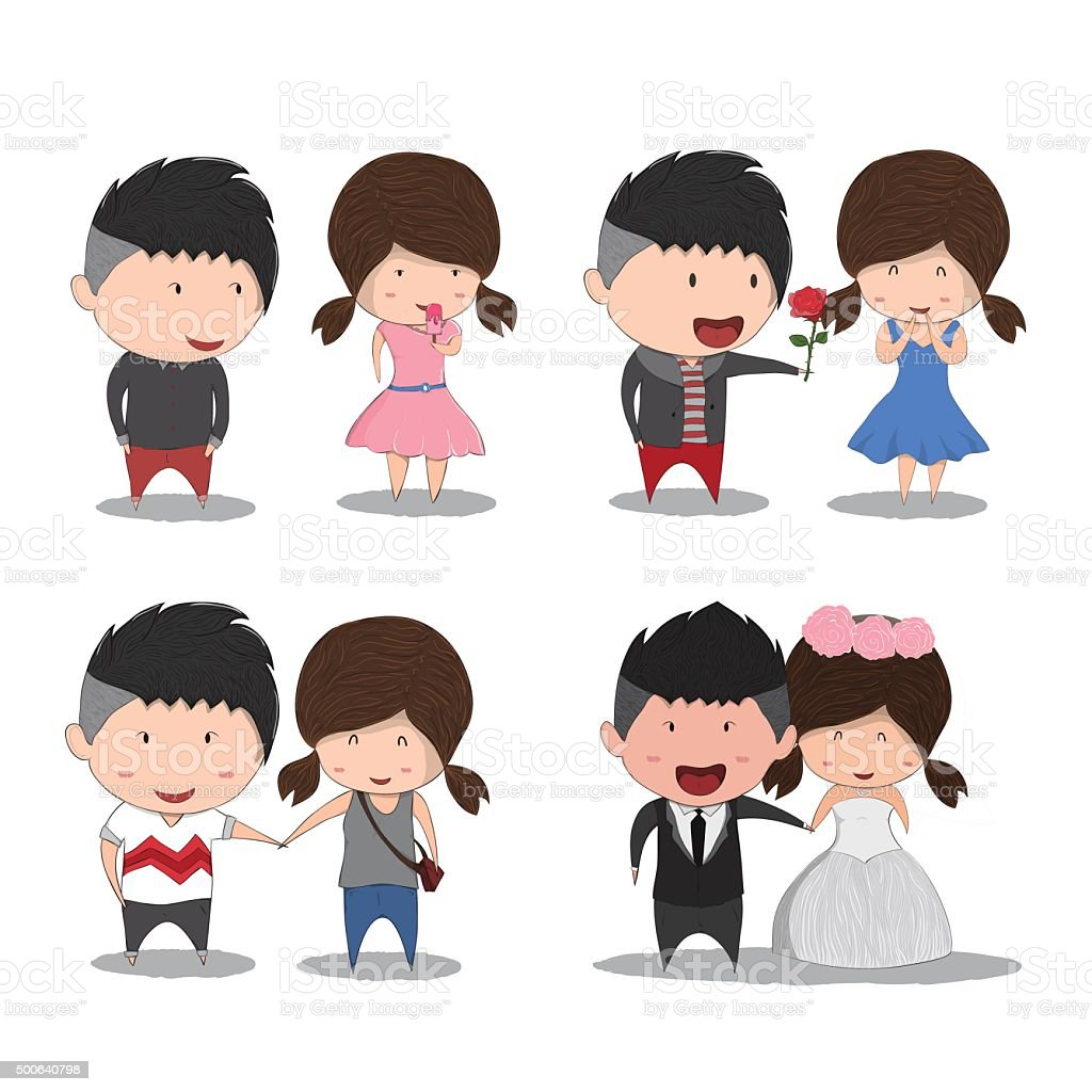 Set Character Cute Cartoon Wedding Couples Cute Valentines Day Stock Illustration Download Image Now Istock