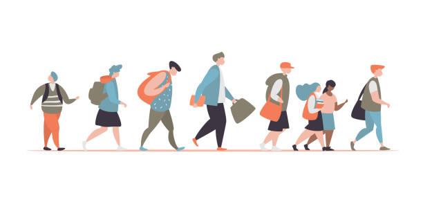 Eingestellten Charakter unterschiedliche Schüler zur Schule gehen – Vektorgrafik