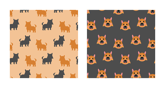 Set Character Seamless Pattern Animal Of Cute German Shepherd Dog Can Be Used as Designs Wallpapers or Backgrounds. Vector Illustration