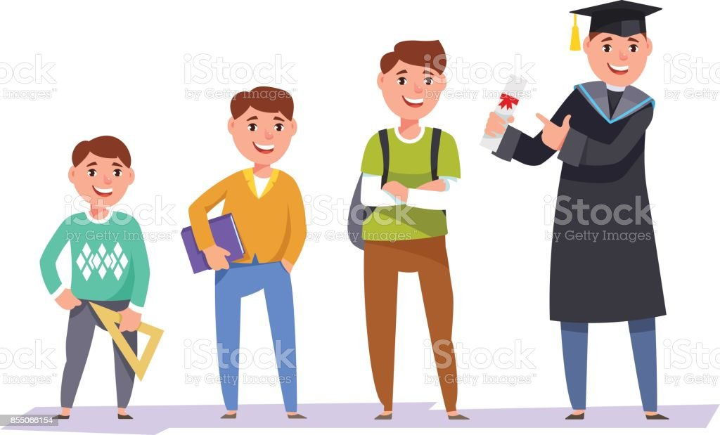 Set character students different ages vector art illustration