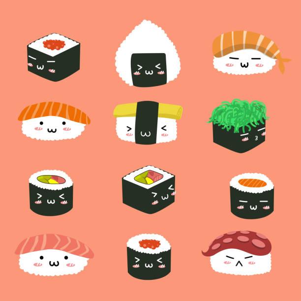 寿司の様々 なキャラクターを設定します。 - わさび点のイラスト素材/クリップアート素材/マンガ素材/アイコン素材