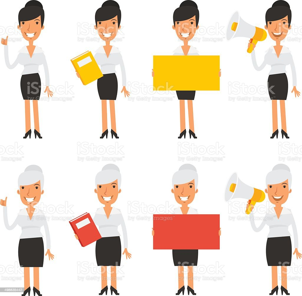 Set characters business woman vector art illustration
