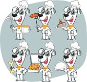 Set Characters Dog Chef Holding Various Objects. Vector Illustration. Mascot Character.