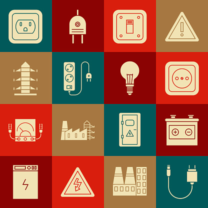 Set Charger, Car battery, Electrical outlet, light switch, extension cord, High voltage power pole line, the USA and Light bulb with concept of idea icon. Vector