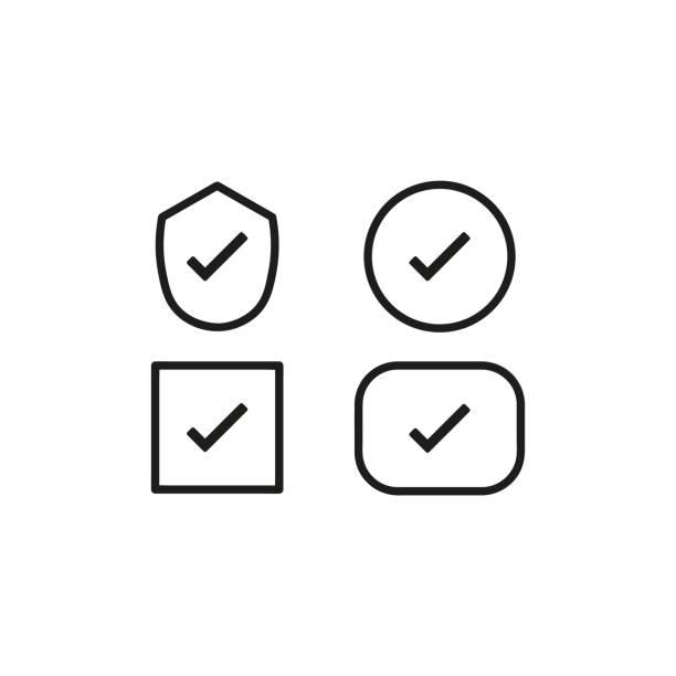illustrazioni stock, clip art, cartoni animati e icone di tendenza di impostare lo sfondo bianco dell'icona del segno di spunta. illustrazione vettoriale - controllo