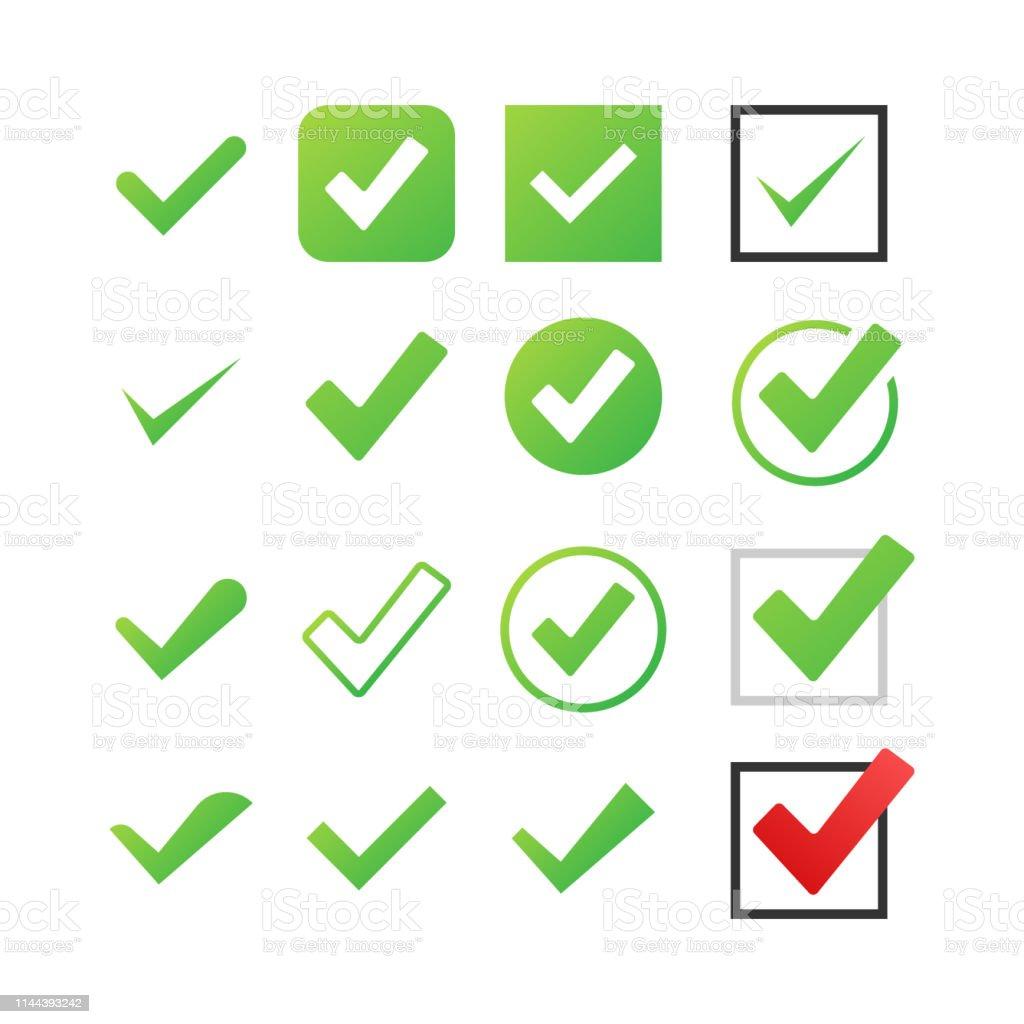 Set Check Marks or Ticks. Tick symbol, grunge check mark. Vector...